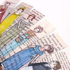 Jane Austen Bookmarks Set of 6 by CastleOnTheHill on Etsy