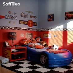 This race car room is an excellent example of how to create a fun theme with our puzzle foam floor mats. Visit us today and see what ideas you can create! Car Bedroom, Boys Bedroom Decor, Bedroom Themes, Bedroom Ideas, Merida, Race Car Room, Kids Car Bed, Playroom Flooring, Kids Bedroom Designs