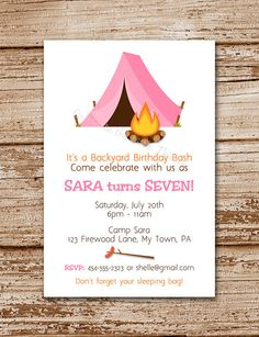 Camping Invitation for Girls | Personalized | Camp Out, Tent, Slumber Party, Sleepover (Printable)