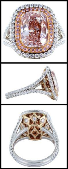 4.36 carat pink diamond ring