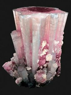 Tourmaline with Albite~ Paprock, Nuristan, Afghanistan. Tourmaline aids in understanding oneself and others. It promotes self-confidence and diminishes fear. Tourmaline attracts inspiration, compassion, tolerance and prosperity. Minerals And Gemstones, Rocks And Minerals, Rock Collection, Beautiful Rocks, Mineral Stone, Rocks And Gems, Stones And Crystals, Gem Stones, Creations