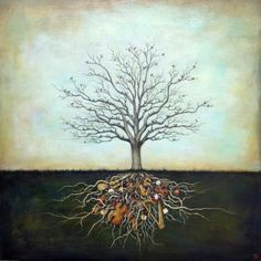 Duy Huynh painting - Strung Together, tree with birds rooted with musical instruments