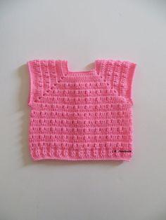 Crochet Baby Girls Vest 2 to 6 Months Baby girls by ladybird113