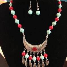 Silver Aztec statement necklace & earring set Beaded silver tone Aztec style necklace with dangle bead earrings Quirk Jewelry Necklaces