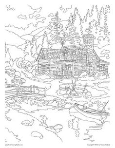 Coloring Pages: River Scene Coloring Page Nature Pages
