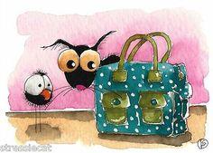 ACEO Original Watercolor Folk Art Illustration Stressie Cat Crow Travel Bag | eBay