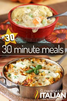 Here are 30 meals that you can have on your plate in 30 minutes or less!  You need a list like this when you have kids, carpools, play dates, work, homeschooling or whatever keeps your schedule full.  This is literally a different meal every day for a month!  All ready in half an hour or less. - See more at: http://www.theslowroasteditalian.com/2013/02/the-biggest-30-minute-meal-round-up.html#sthash.58ttPNQ2.dpuf