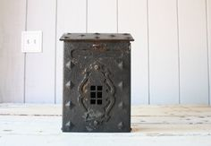 My mailbox also has the scroll on the bottom to hold periodicals.  Vintage Iron Mailbox // Wall Hanging by genrestoration on Etsy, $120.00
