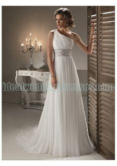 Chiffon Rouched Bodice with Beaded Waistline and Slim A line Skirt Greek Style Bridal Wedding Dress WM-0366
