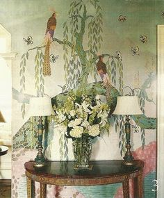 peacock art at The Ledges estate, in Rhode Island originally owned and painted by Howard Gardiner Cushing