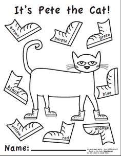 Elementary Music Methods: Real Life Edition: Pete the Cat for Kindergarten. Love Pete the Cat! Pete The Cat Shoes, Pete The Cats, Book Activities, Preschool Activities, Preschool Books, Kindergarten Coloring Pages, Prek Literacy, Listening Activities, Preschool Music