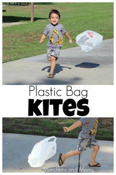Windy day activity for preschoolers- Plastic bag kites!