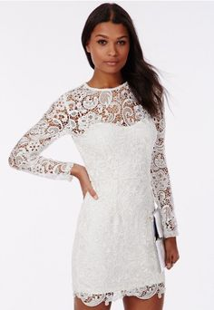 Look luscious in long sleeve white lace this season in the Missguided Maja White Lace Dress.