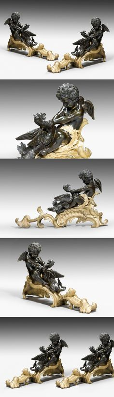 Pair of 19th Century Patinated Bronze and Gilt Bronze Chenet ; each representing a cherub keeping still a griffin, c. 1880, France ; In the manner of Raingo Frères - Dim: H: 16.00 inch (40.64 cm), W: 27.00 inch (68.58 cm), D: 7.00 inch (17.78 cm) - Remarkable chiseling and use multi-patina colours.