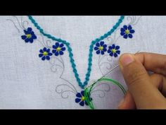 Hand embroidery,Neck line design tutorial 2 - YouTube