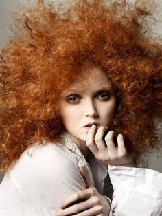 Red hair is now high fashion. Here's English model Lily Cole with her natural red hair in tight, frizzy spiral curls. Nicole Kidman is a natural blonde but she's famous for her adoption of st Lily Cole, Big Hair, Your Hair, Ginger Girls, Frizzy Hair, Ginger Hair, Looks Style, Hair Day, Redheads