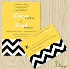 Chevron Custom Wedding Invitation - yellow, black & white wedding invitations.