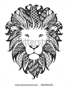 Ornamental patterned head of the lion. Zentangle doodle vector illustration. Black and white graphic. Can be used as design for tattoo, t-shirt, bag, poster, postcard, coloring book