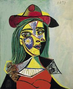 'Woman in Hat and Fur Collar (Marie-Thérèse Walter)' by Pablo Picasso, 1937 Kunst Picasso, Art Picasso, Picasso Style, Picasso Paintings, Portraits Cubistes, Cubist Portraits, Famous Art, Art Plastique, Fur Collars