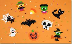 Make spooky fun Halloween Crafts with Melty Beads! Follow these designs to make a skull, witch, spider, cat, Frankenstein or Jack-O-Lantern!