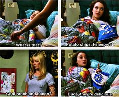 Cool ranch and bacon? ~ 2 Broke Girls Quotes ~ Season 1, Episode 2: And The Break-Up Scene #amusementphile