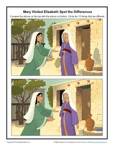 Mary Visited Elizabeth - Printable Spot the Differences Activity