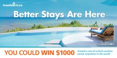 Enter for your chance to win $1000 towards a vacation rental with TravelAlerts.ca and CanadaStays.com. Choose from 40,000 vacation rentals all over the world. Check It Out, All Over The World, Montreal, Sun Lounger, Toronto, Places To Visit, Beach, Outdoor Decor, Ad Campaigns