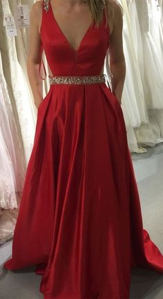 v neck red long prom dress with pockets, 2018 long prom dress, formal evening dress, party dress