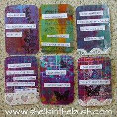 More Gelli Print Truth Cards!! Shells in the Bush: Not only were they great fun to make but they were very uplifting as well - imagine saying all these encouraging words over and over again which is what happens when you create them.
