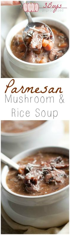 Parmesan, Mushroom and Rice Soup made from scratch. A delicious fall recipe your whole family will love! | www.3boysunprocessed.com