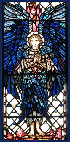 From the chapel of the Trinity Hospital in Leicester. 2 October is the feast of the guardian angels. Stained Glass Angel, Stained Glass Windows, Arte Latina, I Believe In Angels, Templer, Stained Glass Designs, Blue Angels, Guardian Angels, Angel Art