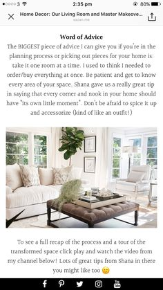Word Of Advice, Room Ideas, How To Plan, Living Room, Home Decor, Homemade Home Decor, Drawing Room, Sitting Area, Living Rooms