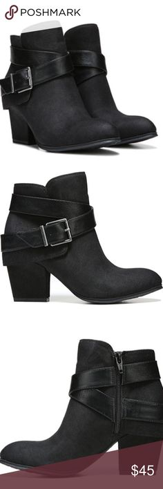 Black Bootie Stunning look! Pair up with jeans, leggings or skirts. Color is Black. Size is 7.5 but it fits like a 7.  Manmade upper with decorative strap and buckle accent. Side zipper closure for an easy on and off Fabric lining, suede like material Shoes Ankle Boots & Booties