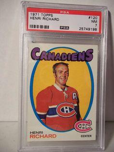 1971 Topps Henri Richard Graded PSA NM 7 Hockey Card #120 NHL Collectible  #MontrealCanadiens