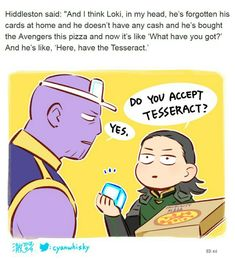 He really buys pizza! || Thanos & Loki / Tom Hiddlestone || Avengers Infinity War || Cr: 澈(Che)