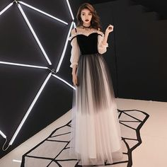 Stylish velvet tulle long prom dress, long sleeve evening dress from Dress idea Dear,friend,welcome to our store.We are a professional wedding apparel manufacturer for several years .All items in my store are all handmade,please feel free to contact u Prom Dresses Long With Sleeves, Formal Dresses, Dress Long, Pretty Dresses, Beautiful Dresses, Mode Hijab, Fashion Weeks, Fashion Tips, Ladies Dress Design