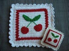 Cherries Potholder or Pincushion Crochet Pattern Mc Crochet Hot Pads, Cotton Crochet, Thread Crochet, Crochet Potholder Patterns, Crochet Squares, Crochet Kitchen, Crochet Home, Diy Crochet, Crochet Ideas