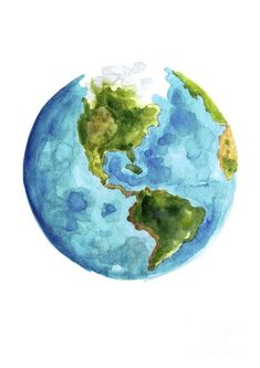 Planet Earth, South America Illustration, Watercolor World Map Painting by Joanna Szmerdt Watercolor World Map, World Map Painting, Planet Painting, Watercolor Paintings, Planet Drawing, Earth Drawings, Drawing Of Earth, Art Inspo, Painting & Drawing