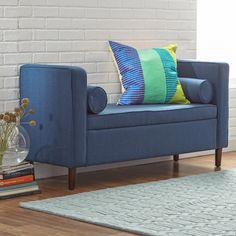 "AllModern - Rimo Upholstered Storage Bench, 52""w x 9""d x 28""h. $144. Blue or grey."