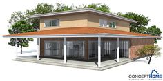 Modern house plan with covered terrace. Suitable to narrow lot, three bedrooms. Second living area on the second  floor.