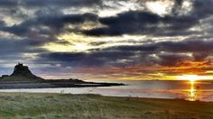 photograph of Lindisfarne Castle from the west at sunrise