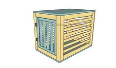 """(paid link) DIY dog crate cover. Our puppy's """"house"""" was an eyesore. So I decided I would build a removable wooden cover for her metal dog crate so it could take the ... #diydogcrate Double Dog House, Large Dog House Plans, Dog House With Porch, Wood Dog House, Build A Dog House, House Roof, Wood Dog Crate, Diy Dog Crate, Pet Crates"""