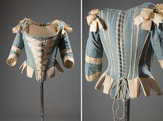Stays: ca. 1770, American, silk, silk ribbon, whalebone.