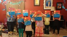 A friend found this painting and asked me to teach it for her daughters birthday party.  The kids had so much fun!