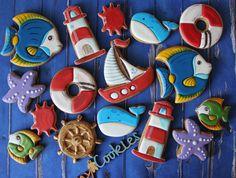 Купить Пряники Морские - комбинированный, пряники, Пряники имбирные, пряники на заказ, пряники расписные