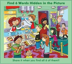Find Six Hidden words in the Picture above and mention them in comments. This is the most difficult picture puzzles in the set of puzzles. Share the Picture with your family and friends and see if they can find all the six hidden words in the picture. Hidden Words In Pictures, Hidden Picture Puzzles, Word Pictures, Movie Hall, Movie Theater, French Lessons, English Lessons, Spanish Lessons, Teaching Spanish