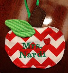 Personalized Chevron Teacher Christmas Ornament