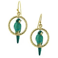 1928 JEWELRY Whimsy Green Parrot Earrings ($25) ❤ liked on Polyvore featuring jewelry, earrings, accessories, jewels, green jewelry, vintage jewellery, vintage earrings, earring jewelry and 1928 jewelry
