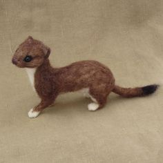 Needle felted weasel or stoat poseable lifesized by Ainigmati