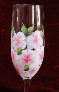 Hand Painted Champagne Flutes Set of 2  Pink and White